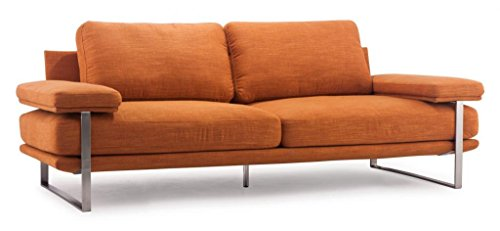 Modern Contemporary Living Room Sofa, Orange Brushed Stainless Steel