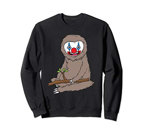 Sloth Wearing Scary Clown Makeup Cute Halloween -