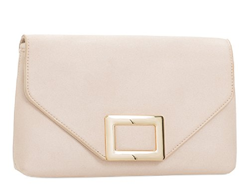 Faux Evening Women's Envelope KL2098 Buckle Suede Clutch Purse Nude Bag Gold Handbag Ladies qdpRq
