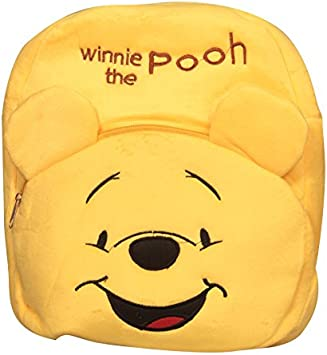 Blue Tree Winnie The Pooh Cartoon Velvet Plush Soft Bag/Backpack for 3 to 5 Year Children (Yellow)