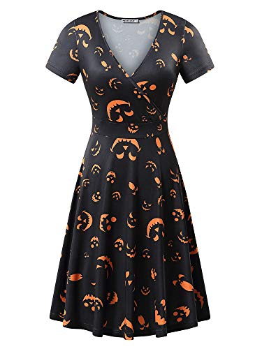 MSBASIC Pleated Dresses Halloween Party Flare Dresses for Women (Black1, XL)