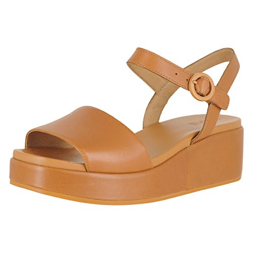 Camper Womens Misa Servolux Coquer Tan Brown Wedge Leather Sandals Size 5