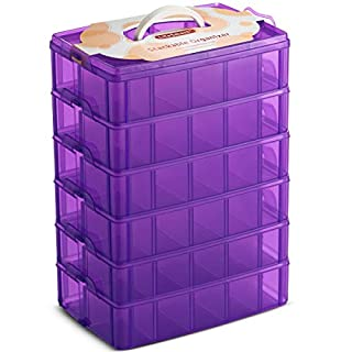 LifeSmart USA Stackable Storage Container Purple 60 Adjustable Compartments Compatible with Lego Dimensions LOL Surprise Littlest Pet Shop Arts and Crafts and More (Standard 6 Tier)
