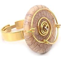 Anel Dourado Espiral Com Medalha Em Resina