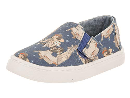 Infants Tiny Feet - TOMS Tiny Luca Blue Snow White Printed Canvas Slip-On Shoe 3 Infants US