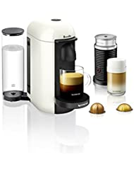 Nespresso VertuoPlus Coffee and Espresso Machine Bundle with Aeroccino Milk Frother by Breville, White
