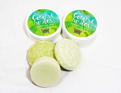 Shampoo & Condition Bars: Includes 2 Shampoo Bars + 1 Conditioner Bar + 2 Travel Containers. All Natural, Safe for Color Treated Hair, SLS Free, Compare to Lush Shampoo Bars (Coconut Lime)