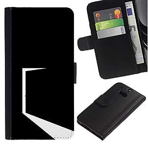 Protector de cuero de la PU de la cubierta del estilo de la carpeta del tirón BY RAYDREAMMM - HTC One M8 - Minimalista Negro Puerta
