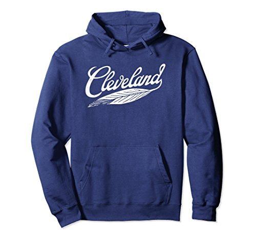 Unisex Cleveland Hoodie Native American Feather Baseball Shirt Medium Navy -