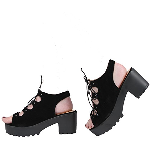 NEW WOMENS LADIES CLEATED PLATFORM BLOCK HEEL LACE UP SANDAL SHOES SIZE 3-8 Black Suede