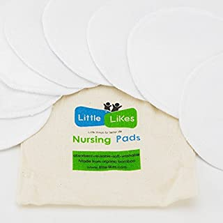 Organic Nursing Pads (8 Pack) - Reusable Bamboo Breast Pads, Bra Pads, Leakproof, Ultra Soft, Waterproof, Hypoallergenic Breastfeeding Pads and Washable