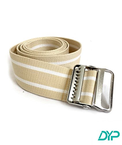 Physical Therapy Cotton Gait Transfer Belt with Metal Buckle Beige Color 60'' by DYP Med Supplies