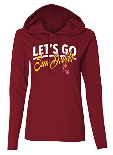 Ncaa Arizona State Sun Devils Womens Long Sleeve Hooded T Shirt  Athletic Maroon  Medium