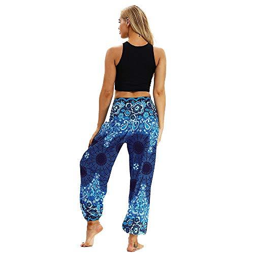 Harem Bleu Yoga Élastiquée Pantalon Floral Taille Pilates Imprimer Boho Imjono Femmes Pants Coton Dames wHqZtnOT