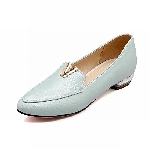 Show Shine Womens Fashion Low Chunky Heel Pointed Toe Shoes Light Blue IQg9E
