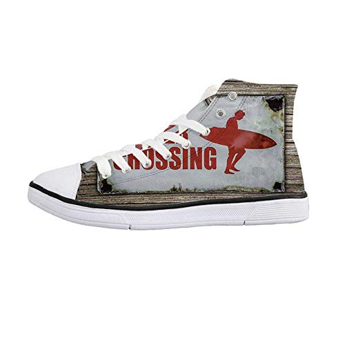Surf Stylish High Top Canvas Shoes,Vintage Rusty Ironic Surfer Crossing Warning Sign on Wooden Background in Haiti for Men & Boys,US Size 6.5