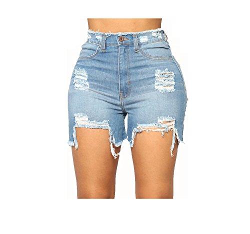 Shorts Chic pour Dechir Femme Jeans Oudan Sexy Courte Bleu Loisir Skinny Vintage F8AwzHx