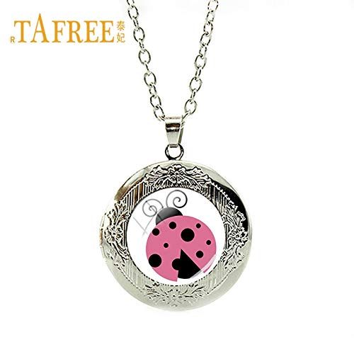 Pendant Necklaces - Lovely Miraculous Ladybug Necklace Silver Color Round Locket Charms Necklace Kids Birthday Party Christmas Jewelry LB30 - by Mct12-1 PCs