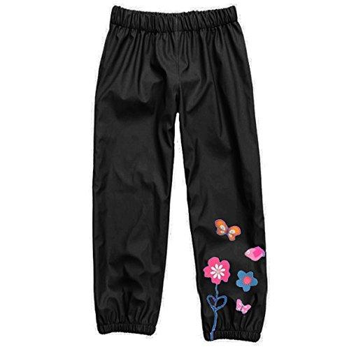 Wennikids Baby Girl Kid Waterproof Floral Outwear Raincoat Pant Small Black