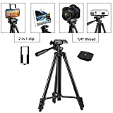 """PEYOU Compatible for iPad iPhone Tripod, 50"""" Lightweight Aluminum Phone Camera Tablet Tripod + Wireless Remote + Universal 2 in 1 Mount Holder for Smartphone (Width 2-3.3""""),Tablet (Width 4.3-7.3"""")"""