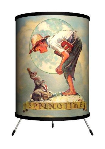 Lamp-In-A-Box TRI-SEP-NRSPR Saturday Evening Post - Norman Rockwell Springtime: Boy with Rabbit Tripod (Springtime Lamp)