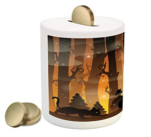 Lunarable Halloween Cat Piggy Bank, Mysterious Forest Tombstones and Pumpkins, Ceramic Coin Bank Money Box for Cash Saving, 3.6