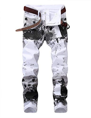 White Denim Jeans Pants - Enrica Men's Casual Color Printed Jeans Skinny White Denim Pants (5602 White, 30)