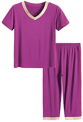 Latuza Women's Sleepwear Tops with Capri Pants Pajama Sets L Boysenberry