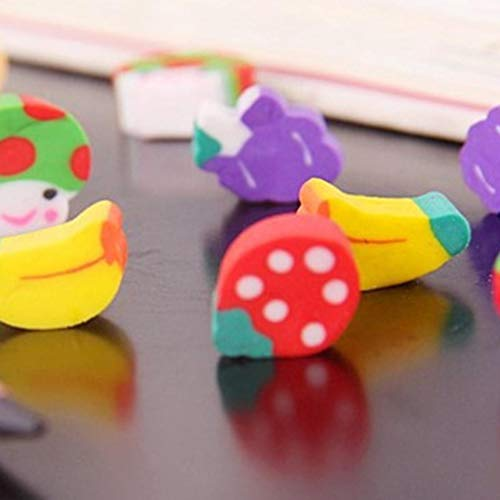 Goodfans 50 Pcs/bag Children Students Casual Cute Mini Fruit Toy Eraser Stationery Tool Cartoon Toy Pen Erasers by Goodfans (Image #6)