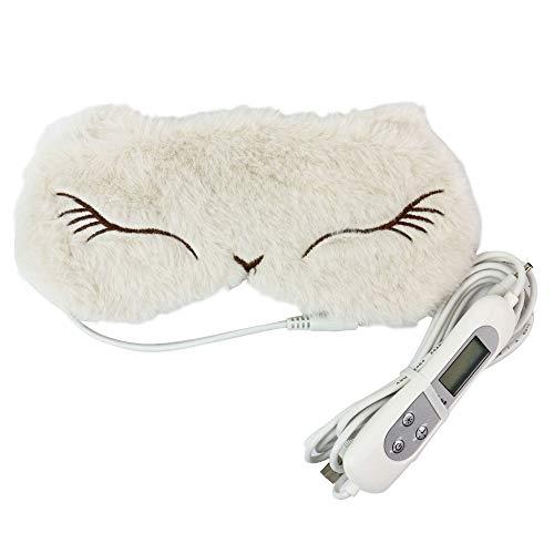 [해외]Edog 귀여운 애니멀 핫 아이 마스크 USB 전 열 식 타이머 설정 온도 조절 (화이트) / Edog Cute animal hot eye mask USB Heating timer set temperature Adjustable (white)
