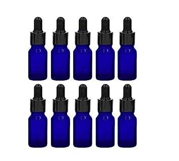 Tukistore 1/3 oz Botellas de Vidrio Azul con cuentagotas de Vidrio Dispensador de aceites