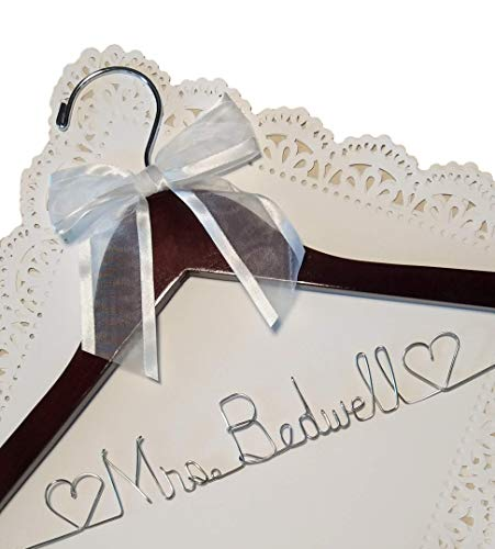 Bride Dress Hanger - Personalized - Silver Wire Craft Name - Dark Wood ()