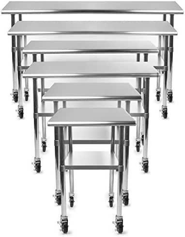 GRIDMANN NSF Stainless Steel Commercial Kitchen Prep & Work Table w/ 4 Casters - Multiple Sizes Available - 30