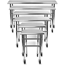 """Gridmann NSF Stainless Steel Commercial Kitchen Prep & Work Table w/4 Casters - Multiple Sizes Available - 30"""" 36"""" 48"""" 72"""""""