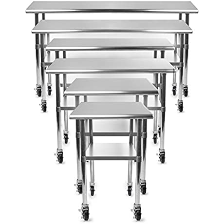 Gridmann NSF Stainless Steel Commercial Kitchen Prep Work Table W 4 Casters Multiple Sizes Available 30 36 48 72