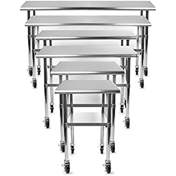 gridmann stainless steel commercial kitchen prep work table w backsplash this item casters wheels bench st