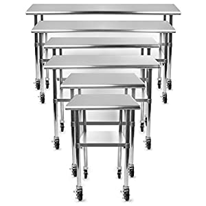 Gridmann NSF Stainless Steel Commercial Kitchen Prep U0026 Work Table W/ 4  Casters (Wheels)   30 In. X 24 In.