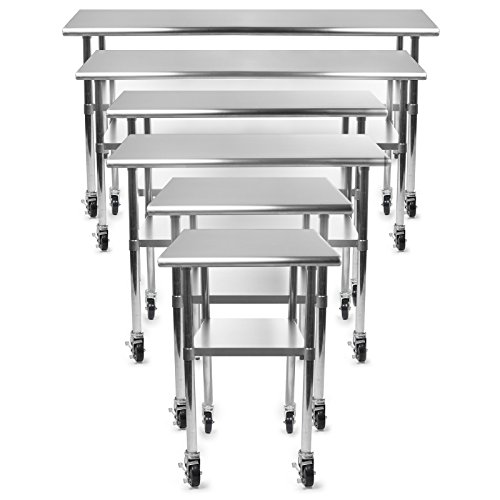 (GRIDMANN NSF Stainless Steel Commercial Kitchen Prep & Work Table w/ 4 Casters (Wheels) - 30 in. x 24 in.)