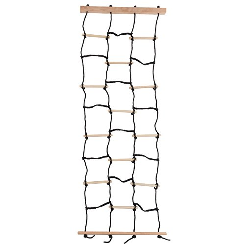 Wooden Cargo - Kids Climbing Cargo Net With Nylon Rope and Wooden Dowels- Fun Outdoor Toy for Balance, Coordination and Strength for Boys and Girls By Hey! Play!