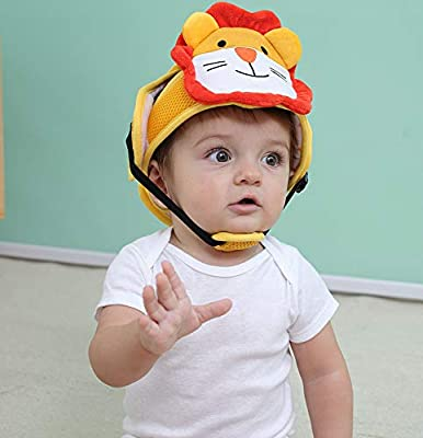 Miss.AJ Baby Head Protector Helmet Lovely Cartoon Animal Shape Safety Head Guard Cushion with Adjustable Straps and Chin Pad Protection Cap Harnesses Hat for Infant Toddlers Learn to Walk and Sit