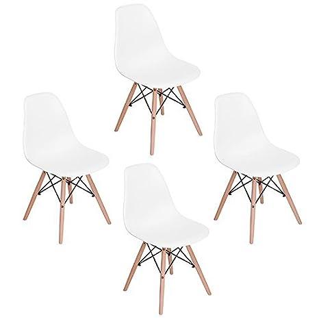 Sedie Moderne In Plastica.Eggree Set Di 4 Sedie Da Pranzo Moderne Scandinavo Design Sedia