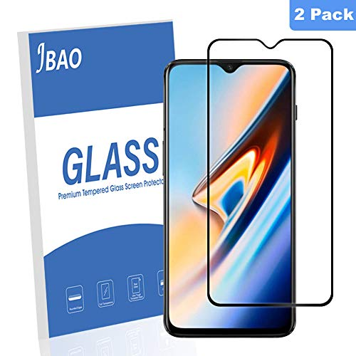 [2-Pack] Jbao Direct Oneplus 6T Screen Protector, 9H Hardness [Scratch Resistant][Anti-Fingerprint] [Bubble Free][Ultra Thin][Full Screen Coverage] Tempered Glass for Oneplus 6T(Black)