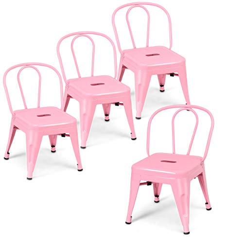 - Costzon Set of 4 High Back Kids Metal Stool, Contour School Student Chair, Stackable for Indoor/Outdoor,Preschool, Daycare, Bedroom, Playroom, Iron Furniture Stool for Boys & Girls (Pink)