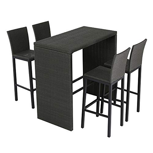Amazing Patio Time Outdoor Furniture 5 Piece Pub Bar Table Set With Interior Design Ideas Greaswefileorg