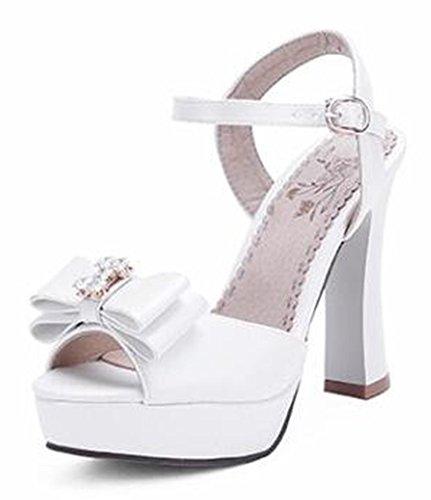 Easemax Womens Sweet Bowknot Buckle Ankle Strap Peep Toe Platform Chunky High Heel Sandals White 8 B M  Us