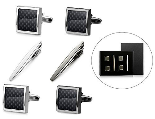 Jstyle Tie Clips and Cufflinks Set for Men Tie Bar Clip Shirt Cufflinks Carben Fiber Set with Box by Jstyle
