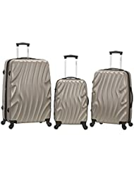 Rockland Melbourne 3 Piece Abs Luggage Set, Silverwave, One Size