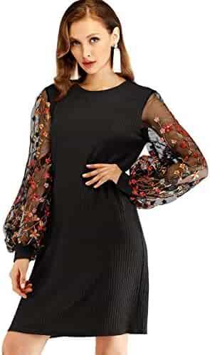 54ebf21eb290 DIDK Women's Elegant Floral Embroidered Mesh Bow Tie Neck Tunic Dress