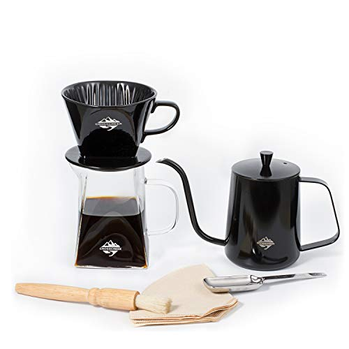 Pour Over Coffee Kettle Set, Stainless Steel Coffee Pour Over Kettle, 600ml Clear Glass Range Coffee Server, Ceramic Pour Over Coffee Dripper/Coffee Filter Con with Scoop and Brush (Black)