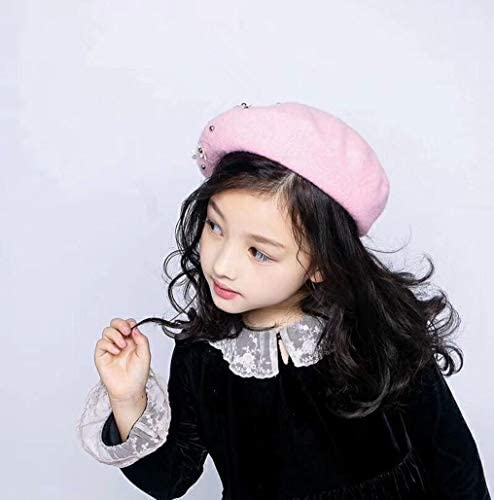 French Girl Pearl-Beret-Hat for Girls Warm Cute Berets for Kids 3-6 Years